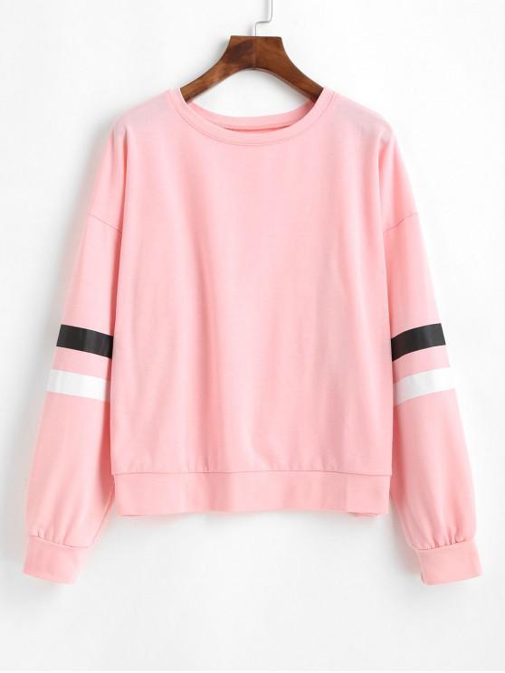 ladies Striped Round Neck Loose Sweatshirt - PINK XL