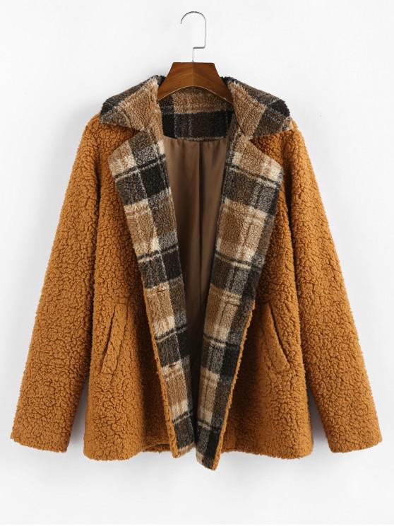women ZAFUL Plaid Faux Shearling Fluffy Pocket Teddy Coat - RED DIRT XL