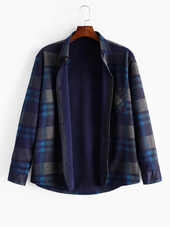 Buton de sus Chequered Print Fleece Tricou maneca lunga - Multi L