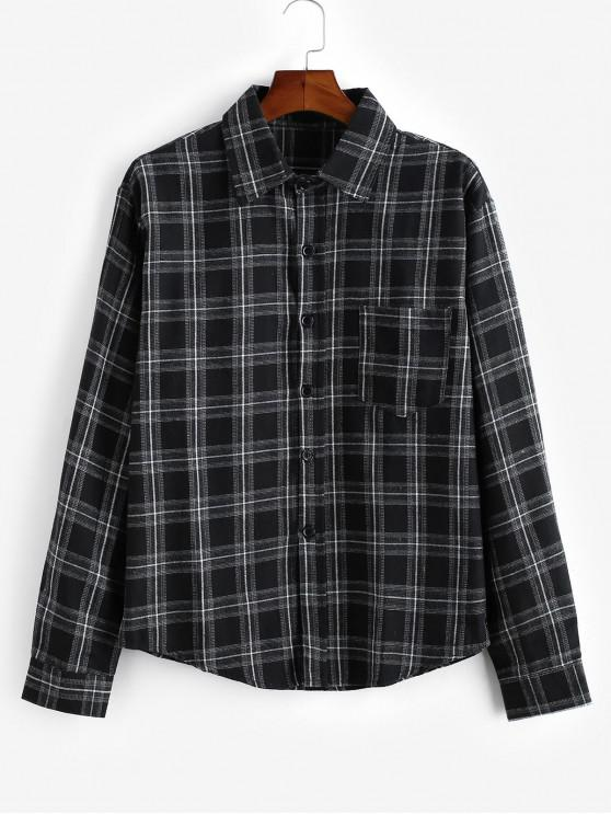 Buton model Plaid cămașă cu mânecă lungă - Negru XL