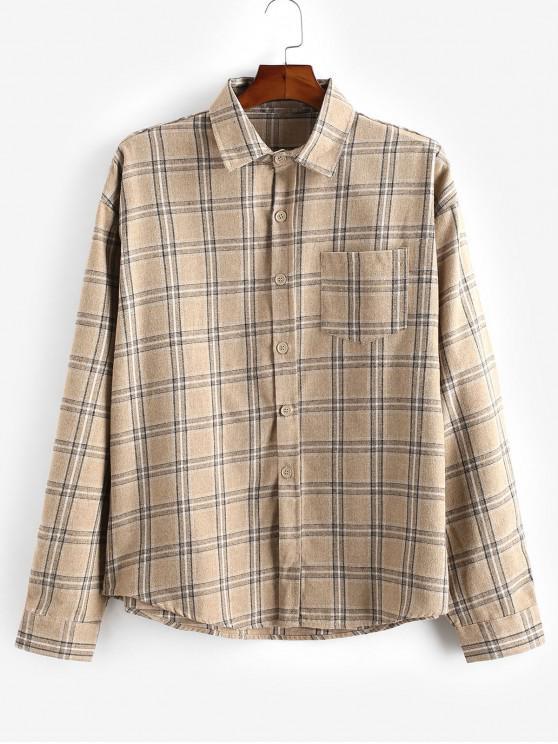 Buton model Plaid cămașă cu mânecă lungă - Kaki 2XL