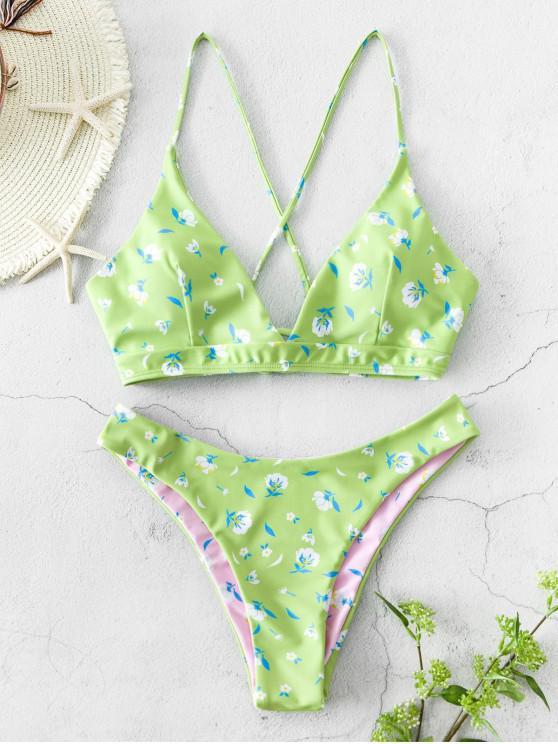 ZAFUL Costume da Bagno BikiniReversible Stampa a Fiorellini con Lacci - Verde del Mare Nero L