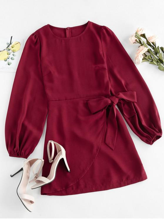 hot ZAFUL Bowknot Overlap Mini Dress - RED WINE XL