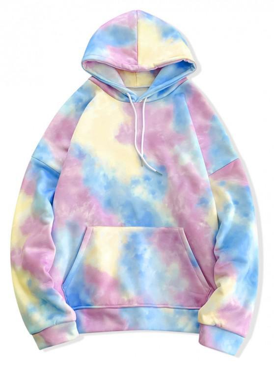 affordable Tie Dye Pullover Fleece Drawstring Hoodie - MULTI-C XL