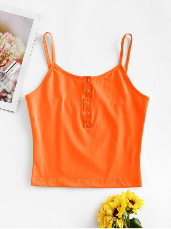 Zugeschnitter Snap-Taste Tank Top - Orange M