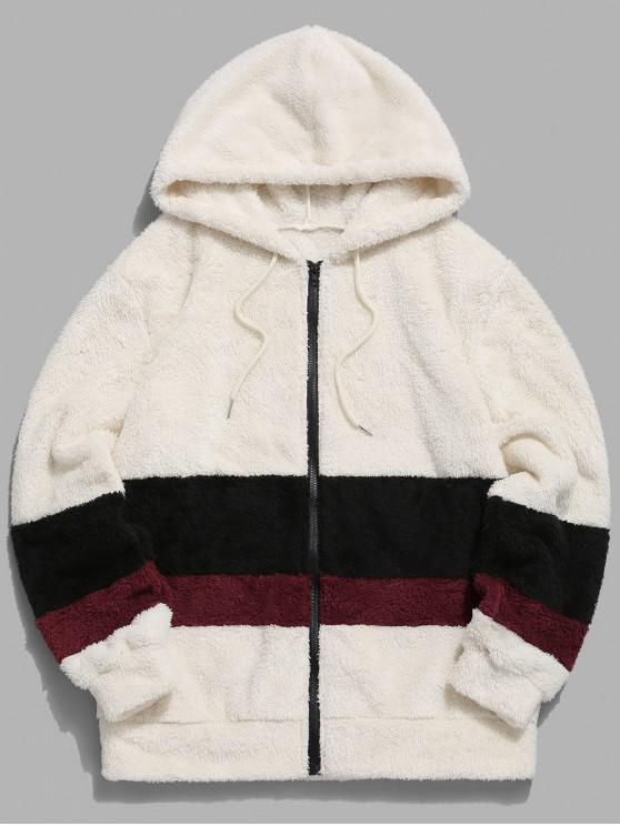 online Colorblock Splicing Faux Fur Fluffy Hooded Jacket - WARM WHITE S
