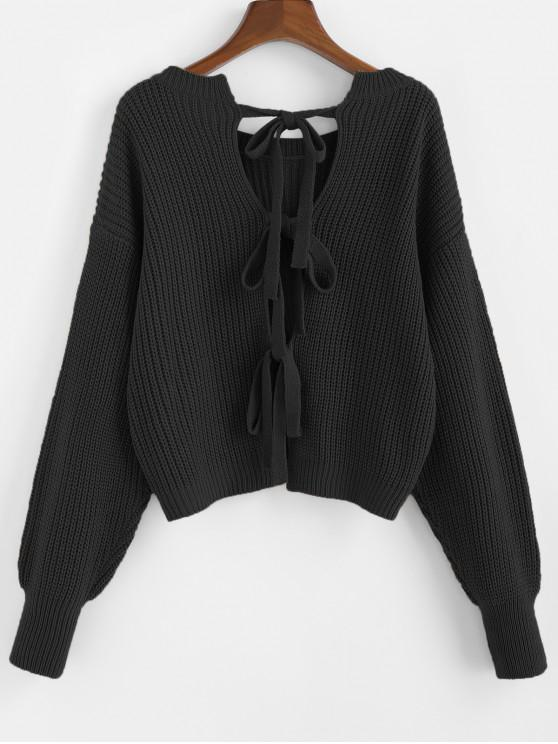 outfits ZAFUL Knot Back Drop Shoulder Textured Sweater - BLACK S