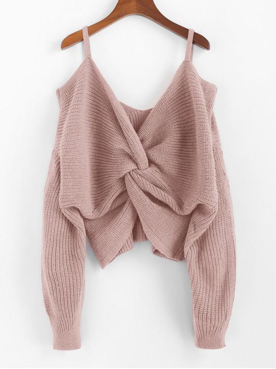 trendy ZAFUL Twisted Cold Shoulder Jumper Sweater - ROSE M