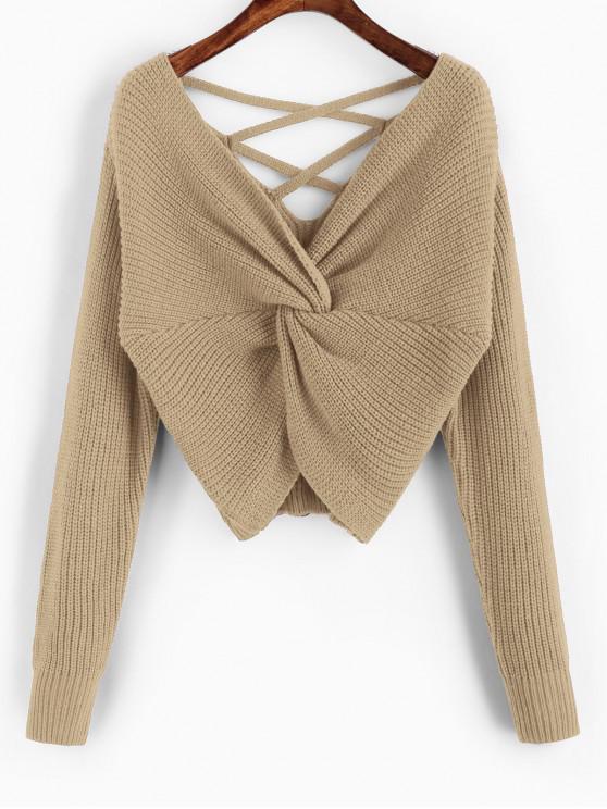 women's ZAFUL Twisted Criss Cross Drop Shoulder Sweater - KHAKI L