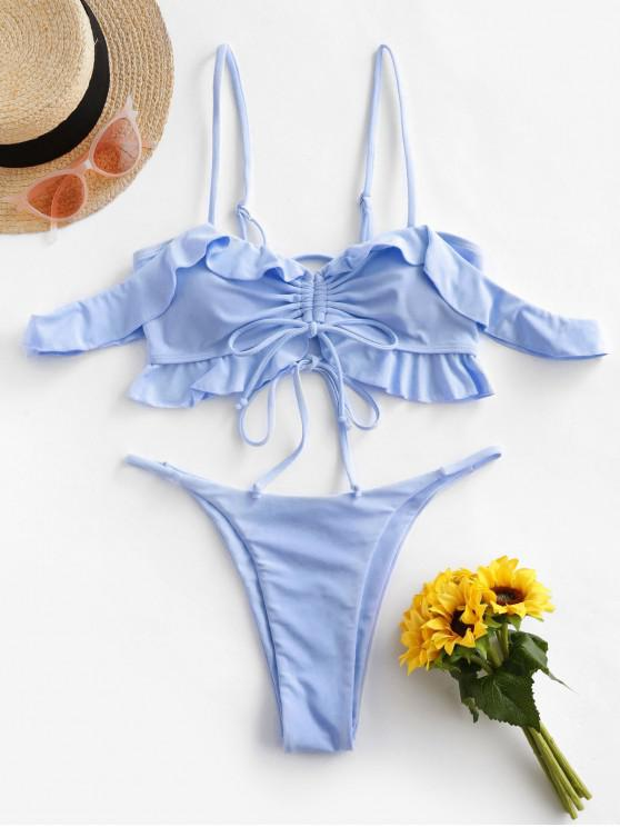 affordable ZAFUL Ruffled Cinched Lace Up String Bikini Swimsuit - JEANS BLUE S