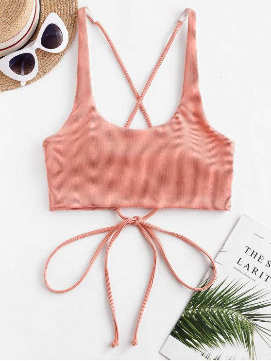 ZAFUL costine Criss Cross serbatoio superiore di bikini - Rosa arancio 2XL