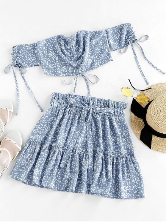 womens ZAFUL Ditsy Print Cinched Smocked Off Shoulder Frilled Skirt Set - SEA BLUE L