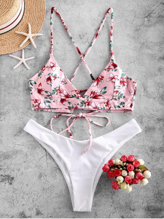 affordable ZAFUL Flower Lace Up High Leg Bikini Swimsuit - WHITE S