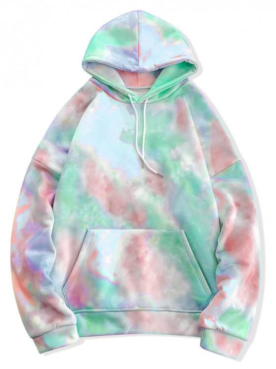 online Tie Dye Pullover Fleece Drawstring Hoodie - MULTI-E M