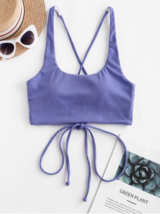 lady ZAFUL Ribbed Criss Cross Tank Bikini Top - BLUE XL