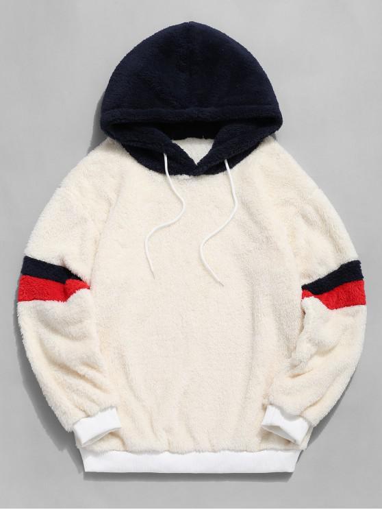 El bloqueo de color de la piel de imitación de empalme mullido con capucha - Blanco M
