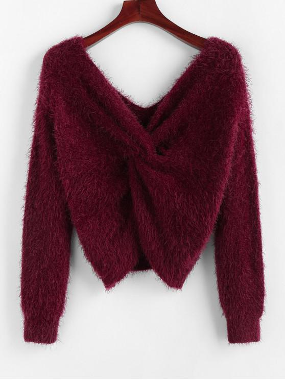 hot ZAFUL Twisted Plunging Fuzzy Sweater - RED WINE L