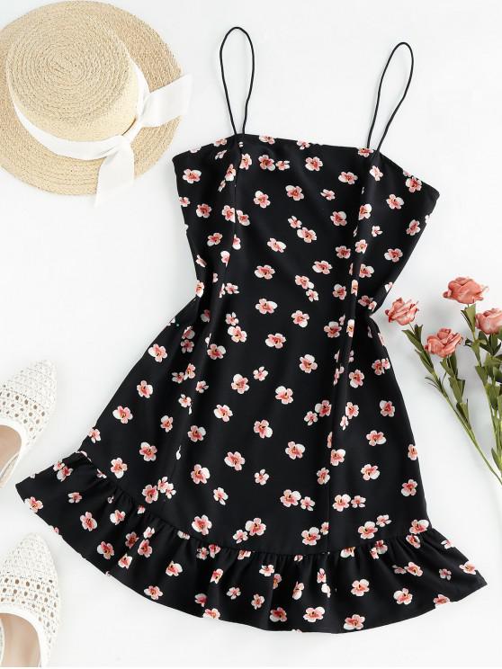 new ZAFUL Flounce Floral Print Cami Dress - BLACK XL