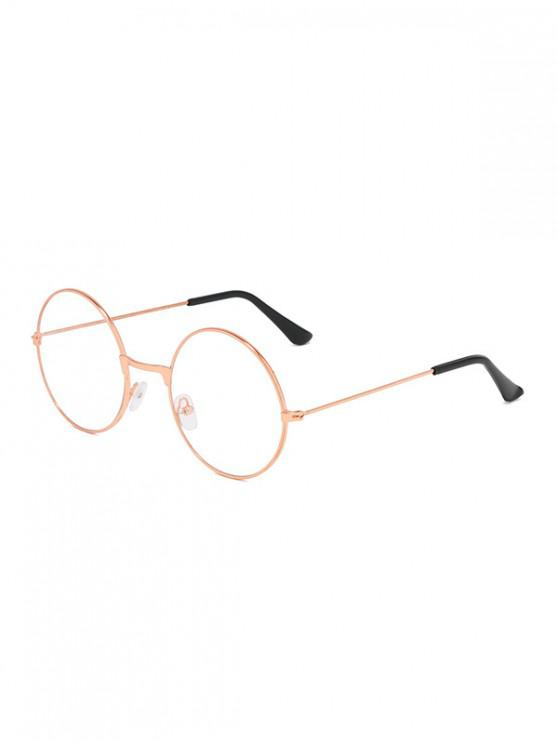 fancy Metal Lightweight Round Plain Glasses - ROSE GOLD