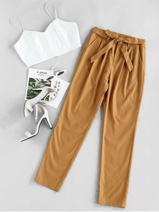 womens ZAFUL Cami Crop Top With Pants Two Piece Set - CARAMEL S