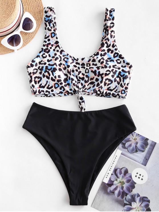 ladies ZAFUL Animal Print Knotted Mix and Match Tankini Swimsuit - BLACK 2XL