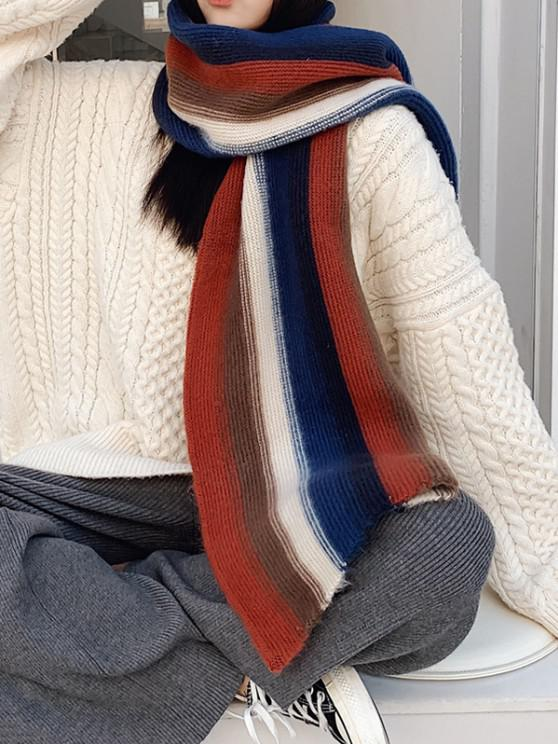 buy Colorblock Striped Knit Scarf - CADETBLUE