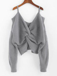 ZAFUL Twisted Cold Shoulder Jumper Sweater - Gray Goose M