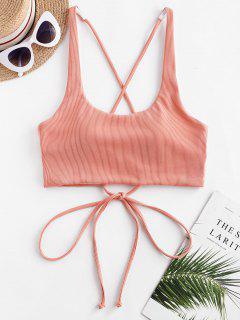 ZAFUL Ribbed Criss Cross Tank Bikini Top - Orange Pink S