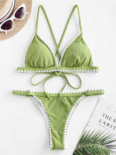 ZAFUL Ribbed Whip Stitch Crisscross Low Waisted Bikini Swimwear - Pistachio Green S