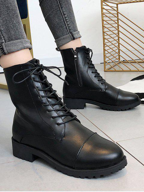 online Simple Low Heel PU Leather Short Boots - BLACK EU 38 Mobile
