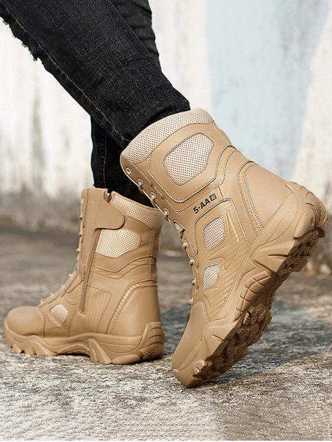 Encaje exterior hasta la pantorrilla botas de combate de mediana - Caqui Claro EU 41 Mobile