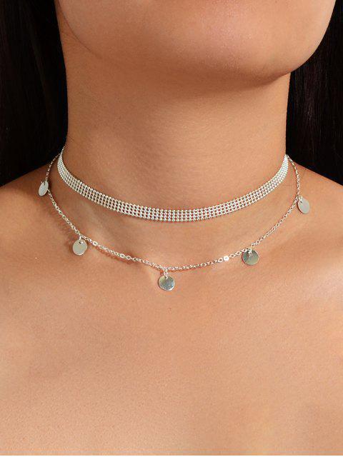 Collier Rond Superposé Perle en Alliage - Argent  Mobile