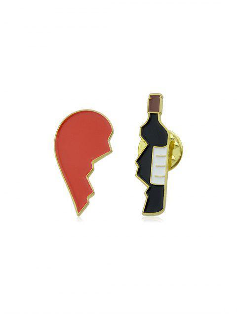 2шт Сломанное сердце Бутылка Брошь Набор - Лава-красный  Mobile