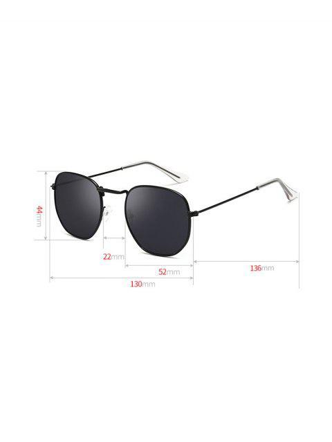 Металл Защита от UV Квадратные Солнцезащитные Очки - Чёрный  Mobile