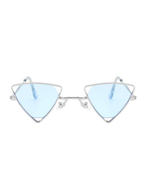 hot Metal Hollow Triangle Lightweight Sunglasses - DENIM BLUE  Mobile
