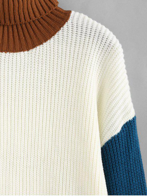 women ZAFUL Turtleneck Colorblock Sweater - WARM WHITE S Mobile