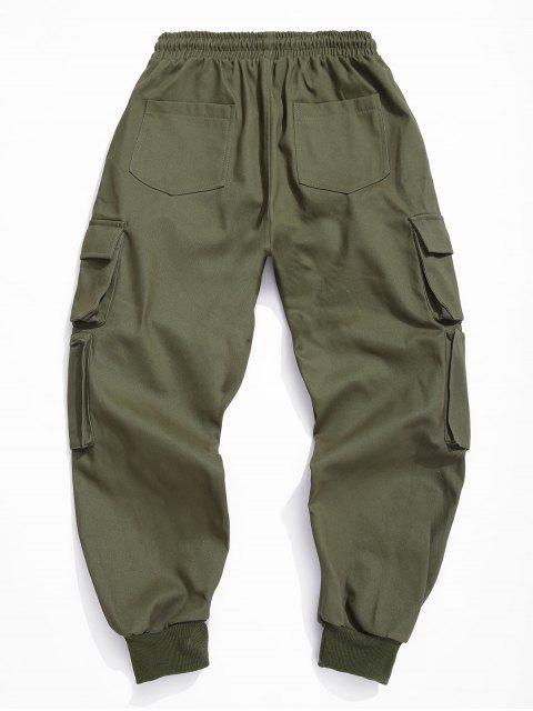 純色鬆緊腰圍褲 - 軍綠色 S Mobile