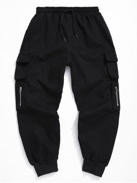 fashion Solid Color Elastic Waist Cargo Pants - BLACK M Mobile