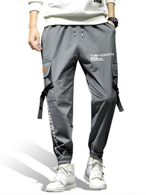 unique Graphic Print Pocket Design Jogger Pants - GRAY XL Mobile