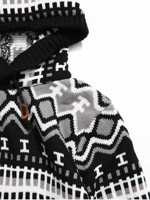 Geométrica Imprimir cordón del suéter encapuchado - Blanco XS Mobile
