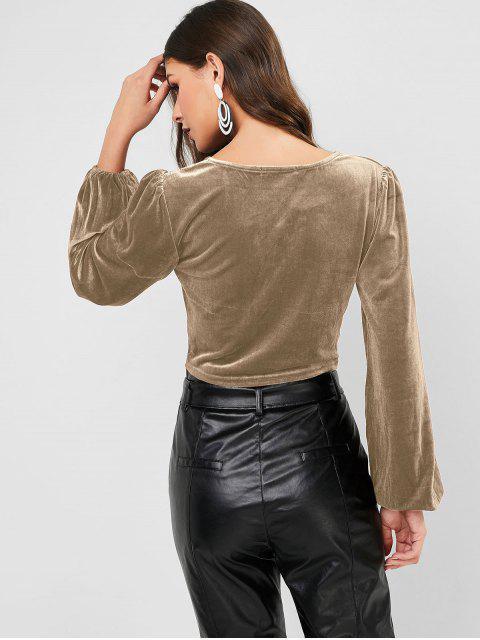 ZAFUL Knopf V Ausschnitt Samt Crop T Shirt - Khaki M Mobile