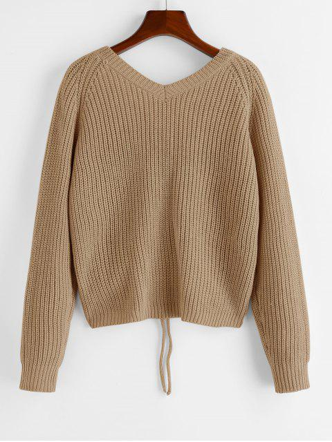 best ZAFUL V Neck Shirred Ribbed High Low Sweater - KHAKI L Mobile