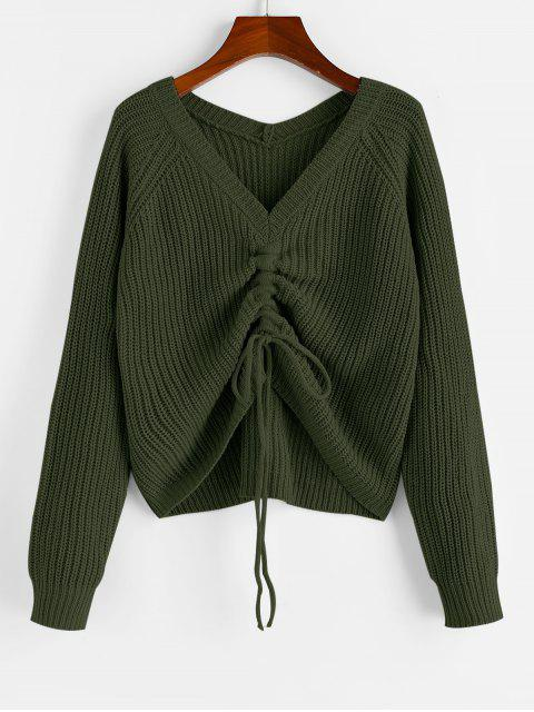 online ZAFUL V Neck Shirred Ribbed High Low Sweater - ARMY GREEN M Mobile