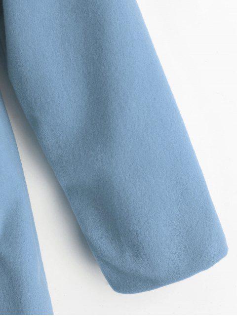 Manteau Boutonné en Couleur Unie avec Poches - Bleu Léger  XL Mobile