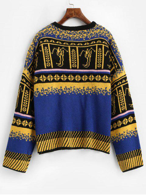 lady Crew Neck Intarsia Knit Graphic Jumper Sweater - BLUE ONE SIZE Mobile