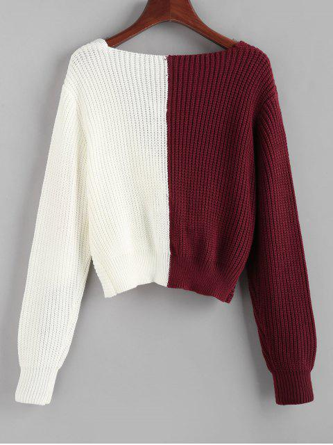 ZAFUL Kontrast Zweifarbiger Tauch Pullover - Multi S Mobile