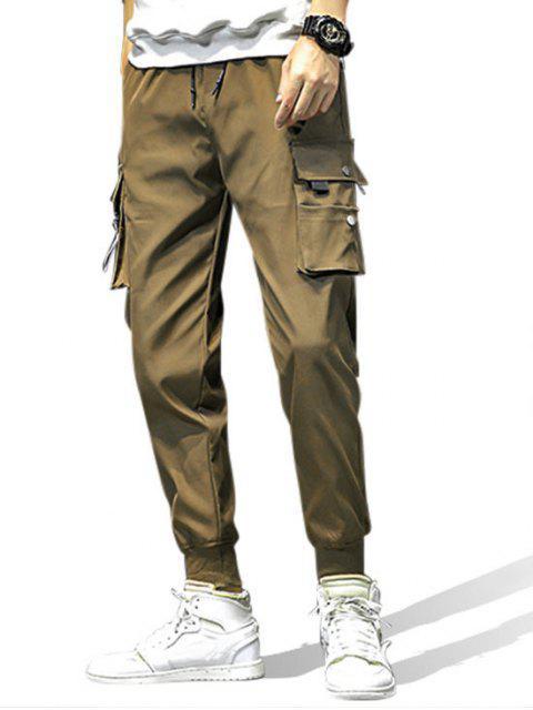 口袋裝飾鬆緊腰圍慢跑褲 - 軍綠色 L Mobile