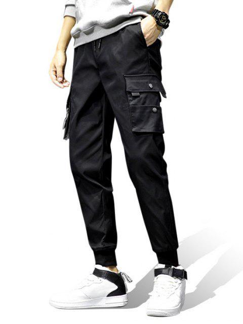 unique Pocket Decoration Elastic Waist Jogger Pants - BLACK M Mobile