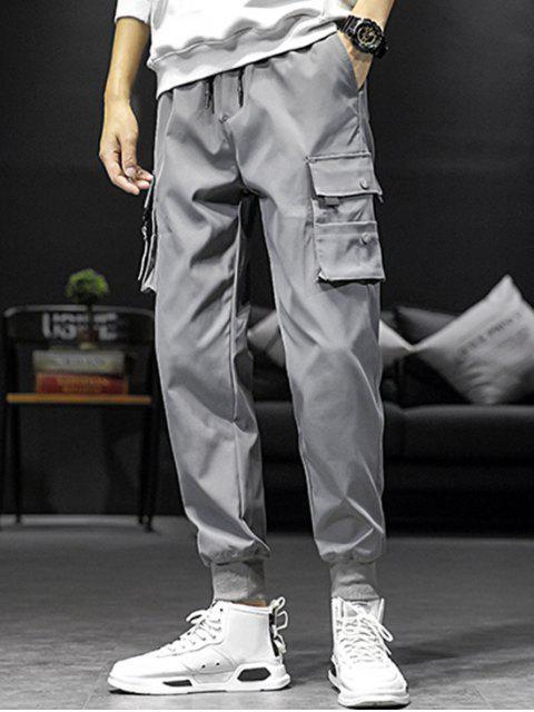口袋裝飾鬆緊腰圍慢跑褲 - 灰色 XL Mobile