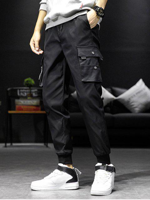 口袋裝飾鬆緊腰圍慢跑褲 - 黑色 S Mobile